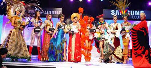 National Costume Finalists from left to right: Mexico, Dominican Republic, India, South Africa, Vietnam, Venezuela, Peru, Kosovo, Colombia and Albania