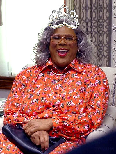 Madea wears the Miss Universe crown