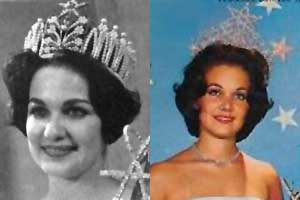Miss Universe 1960, Linda Bement of the U.S.A. wearing two different Miss Universe crowns!