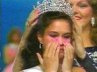 Ruth Zakarian is crowned the first Miss Teen USA in 1983 by Miss USA 1983, Julie Hayek