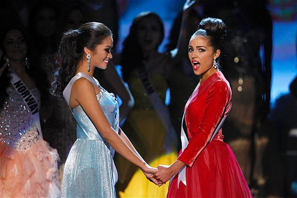 Philippines-Janine Tugonon and USA-Olivia Culpo as Olivia reacts when she is declared Miss Universe 2012