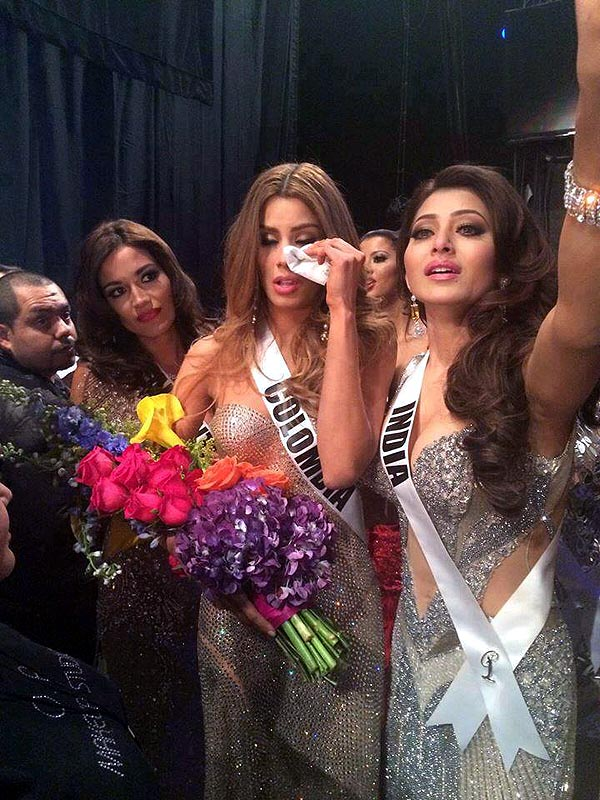 Ariadna Gutierrez is comforted by Urvashi Rautela