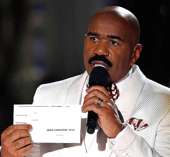 Host Steve Harvey shows card with results
