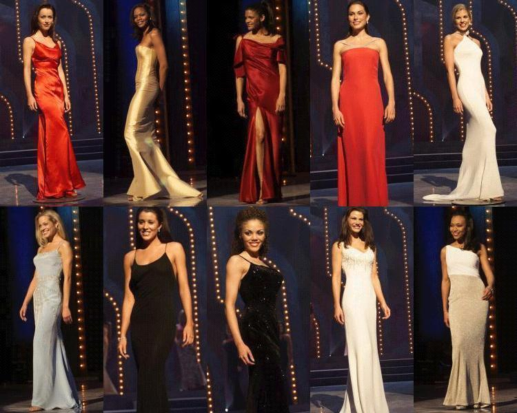 Evening gown competition:  South Carolina, Colorado, Iowa, New Hampshire, Kansas, Michigan, Alabama, Tennessee, Georgia, New York