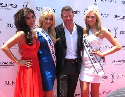 At Katie Blair's official crowning as the new Miss California USA 2011.  Pictured are Nicole Johnson, Miss California USA 2010, Katie Blair, Miss California USA 2011 and Miss Teen USA 2006, pageant director Keith Lewis and Alexis Swanstrom, Miss California Teen USA 2011