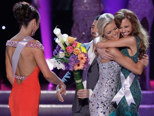 Alyssa Campanella and Ashley Durham hug as the last two standing