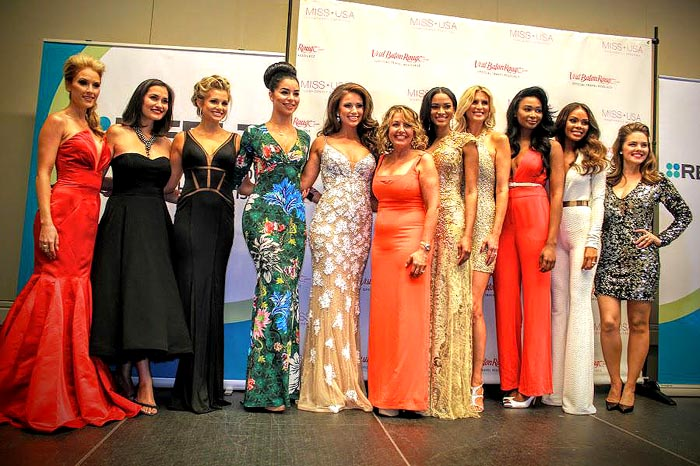 Judges: (pictured left to right) Tara Conner-Miss USA 2006, Brook Lee-Miss Universe 1997, Danielle Doty, Miss Teen USA 2011, Rima Fakih-Miss USA 2010, Nia Sanchez-Miss USA 2014, Paula Shugart Allison-MUO president, Leila Lopes Umenyiora-Miss Universe 2011, Michelle McLean Bailey-Miss Universe 1992, Nana Meriwether-Miss USA 2012, Crystle Stewart-Miss USA 2008, Kimberly Pressler-Miss USA 1999