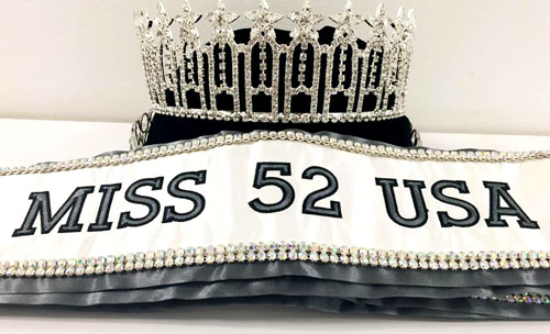 Miss 52 USA crown and sash