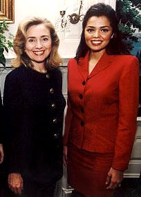 Hillary Clinton and Chelsi Smith, Miss Universe 1995